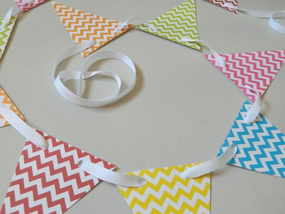 Items similar to birthday decorations chevron paper garland unisex birthday decor baby - Baby shower chevron decorations ...