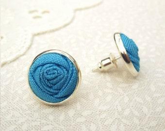 Blue Earrings - Fabric Rose Earrings in Alegria - Silver Stud - Bridesmaid Gift