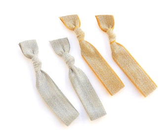 Silver and Gold - 2 Gold Sparkle and 2 Silver Sparkle Elastic Hair Tie - Great Holiday Hair Accessories