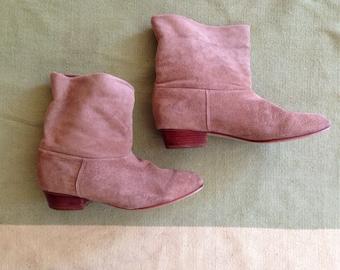 Vintage Women's Tan Suede Boots Size 7.5