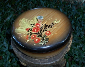 Japanese Rice Bowl Melamine Serving Asian Floral Spray & Woodgrain Motif