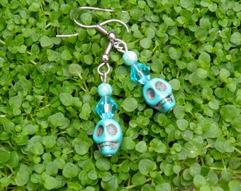 Turquoise Skull and Swarovski Facted Bicone Hook Earrings