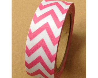 SALE Washi Tape Pink Chevron Washi Tape Chevron Tape 11 yards 10 meters 15mm Bubblegum Pink Chevron Bright Pink Classic Chevron
