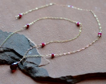 Natural Garnet Necklace, Faceted Red Pendant, Wire Wrapped Natural Rubies and Freshwater Pearls, Gold