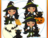 Bewitching LiL Witch Green Clipart (Digital Download)