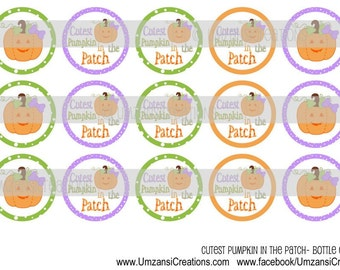 """15 Cutest Pumpkin in the Patch Digital Download for 1"""" Bottle Caps (4x6)"""