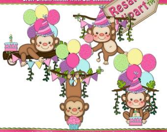 Jungle Monkey Girls 1 Clipart (Digital Download)