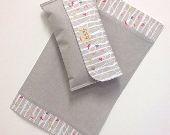 Nappy wallet Diaper clutch and Change mat/pad set 'Birdhouse' on natural cotton/linen . Waterproof lining. Fantastic Gift