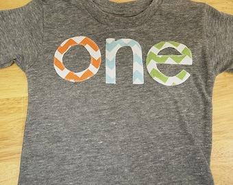 orange light blue and lime green chevron  Birthday Tee Organic Shirt Blend first birthday second Boys birthday shirt