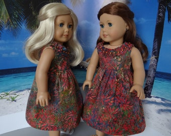 Hawaiian sundress for American Girl or similar 18 inch doll.