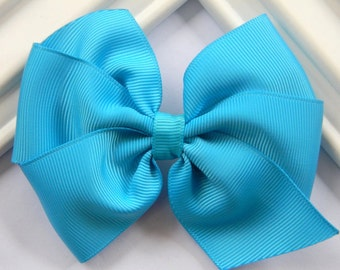 Turquoise Pinwheel Hair Bow, Turquoise Hair Bow