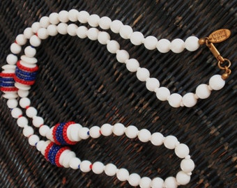 SALE! Vintage Miriam Haskell Necklace Red White and Blue Glass Necklace