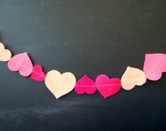 SALE Heart Felt Garland all Pinks