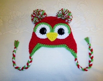 Crochet Braids Columbus Ohio : Red and Green Christmas Colored Crocheted Owl Hat - Photo Prop