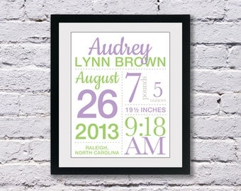 Baby Birth Stats Announcement Print with Script font: You choose colors - 11x14 inches, wall art, nursery art