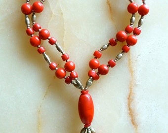 MOROCCAN JEWELRY - coral necklace - berber style - moroccan art