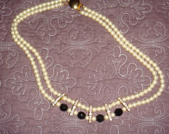 Vintage Faux Pearl Two Strand Necklace with Faceted Black Beads and Rhinestone Enhancers