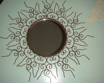 Vintage Metal Sun Mirror Wall Hanging