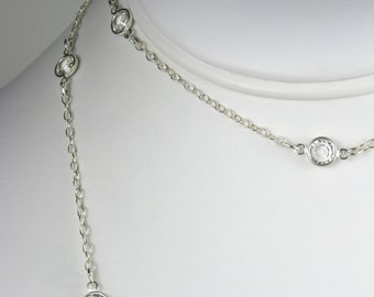 Long Necklace Clear Crystals