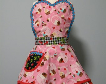 Apron-Girls Cherry Gingham Cupcakes Flounce Apron