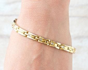Elegant Golden Bracelet - Flexi Chain Links with Rhinestones - Eighties Vintage Jewelry
