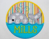 Swimming Whale Circle Applique Design Machine Embroidery INSTANT DOWNLOAD