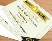 Wedding Invitation Set Digital File Art Deco, gold, customized, personalized, wedding stationery