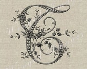 Antique French Monogram Letter T Instant Download Digital Image No.237 Iron-On Transfer to Fabric (burlap, linen) Paper Prints (cards, tags)