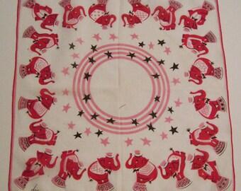 Vintage Designer DON Pink Circus Elephants Hankie