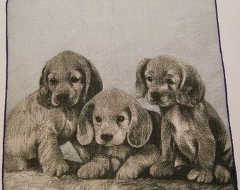 SALE - Vintage Puppy Dogs Handkerchief