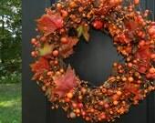 Fall Wreath - Autumn Door Decor - Thanksgiving Wreath