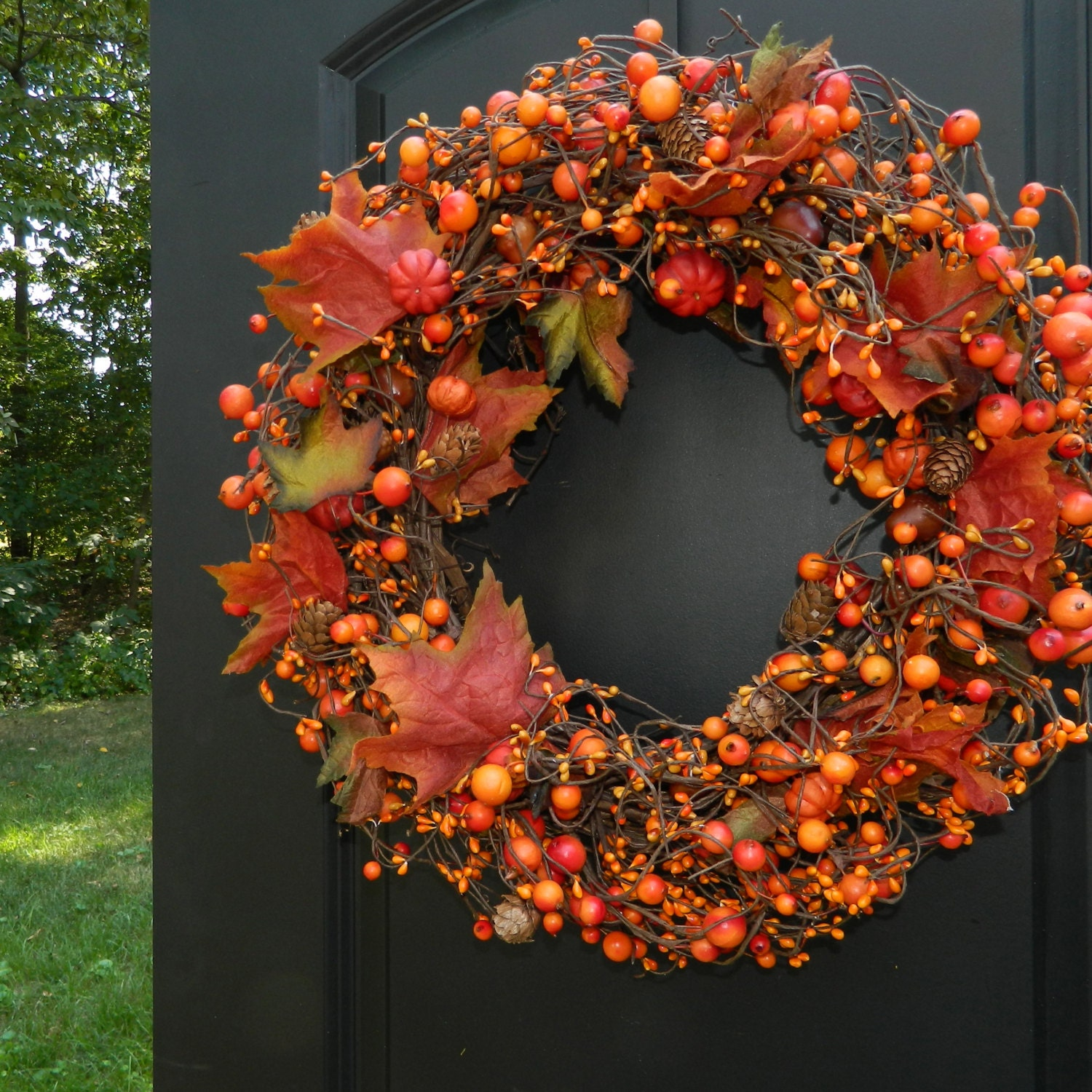 Fall Wreath Autumn Door Decor Thanksgiving Wreath