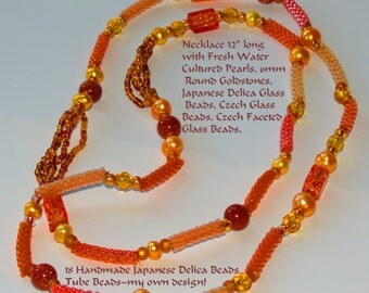 """Sale!! Handmade Delica Bead Tube, Gold Freshwater Pearls, Goldstone & Delica Beaded Necklace 32"""" FREE Ship USA  N0308"""