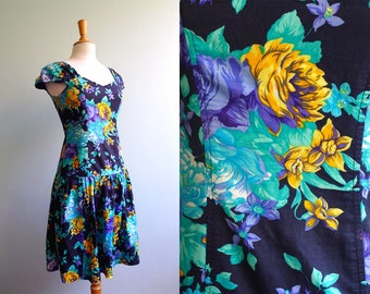 90s grunge revival black green purple yellow floral drop sundress S