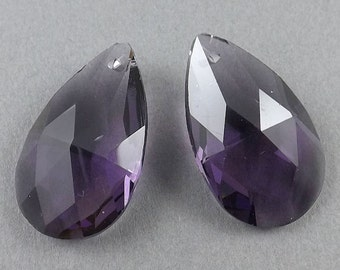 Faceted-Amethyst Purple Austrian Crystal Earring beads,9g, 25mmx15mm