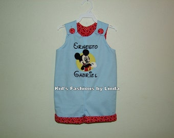 Personalized Light Blue Kona Cotton/Red Dots Birthday Mickey Jon Jon