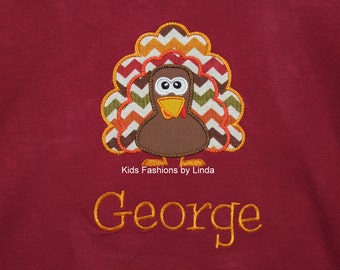 Personalized Maroon Long Sleeve Shirt with Turkey  Applique
