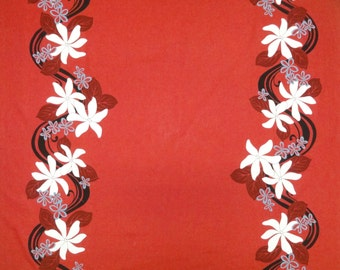 "Hawaiian Tahitian Fabric, Red with White, Black & Blue Border Print - 45"" wide, 2 yd"