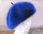 Vintage Kangol Blue Faux Fur Beret