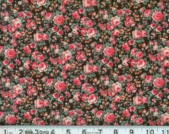 06835 -  Malone Textiles Jubilee flowers in black -  1 yard