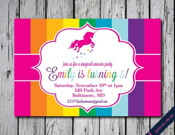 Rainbow Unicorn Birthday Party Custom Printable Invitation