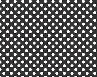 LAMINATED cotton fabric by the yard - small black dot yardage (aka oilcloth, vinyl, coated)