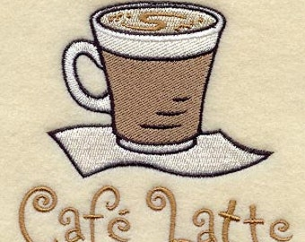 Cafe Latte Coffee Cup - Embroidered Flour Sack Hand/Dish Towel