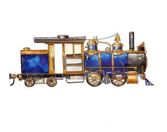 "Blue Steam Engine Locomotive watercolor print, 8x10"""