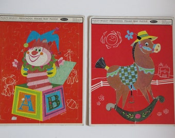 Vintage RED 1966 Inlaid Frame Tray Puzzles - Horse and Jack in the Box