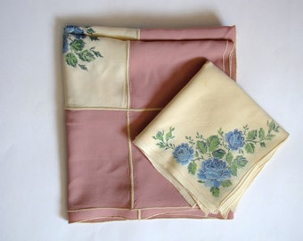 Vintage Pink and Yellow Table Cloth - approx 50 inches X 50 inches - with napkins