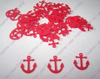 100 Red Anchor Confetti, Anchor Theme, Nautical Baby Shower, Nautical Confetti,  Anchor Cut Out, Nautical Wedding, Nautical Theme