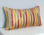Bold Colors Stripe Pillow-Metallic Gold,Yellow,Rose Red,Taupe Pillow Cover-Velvet Accent Pillow-Luxury Decorative Pillows-Lumbar Pillow