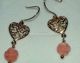 Rose Gold Coral Earrings