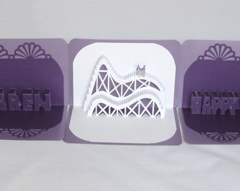 50th BIRTHDAY 3d Pop Up Roller Coaster Book Card CUSTOM ORDER Handmade in White and Dark Metallic Purple and light purple.  One of A Kind.